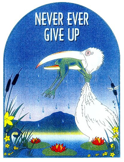 Image result for never give up stork swallowing frog